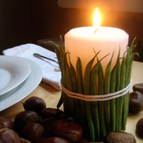 green bean candle lit
