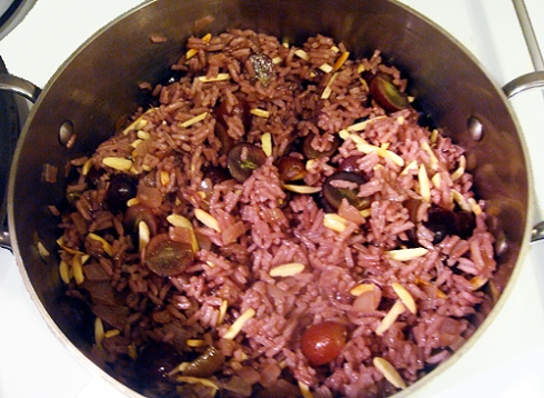 rice, wine, grapes and almonds