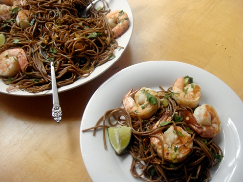soba noodles with shrimp, cilantro and crispy shallots