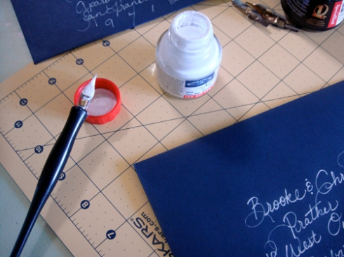 handwriting with calligraphy supplies