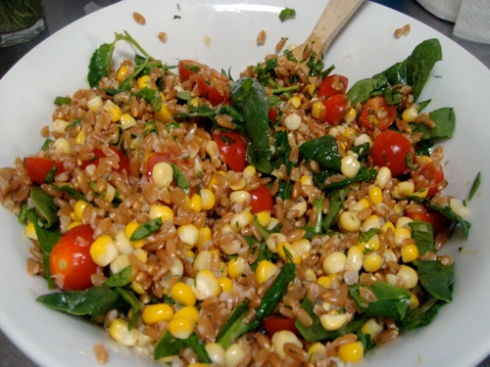 farro salad with tomatoes and brown butter corn
