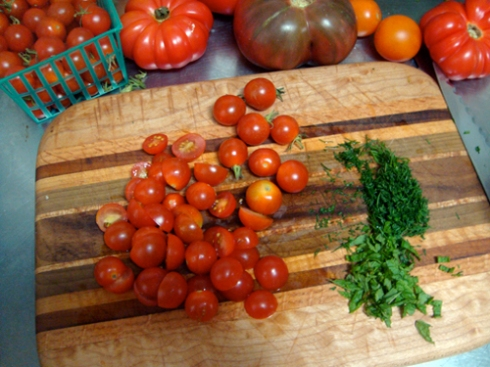 Summer tomatoes for Farro Salad