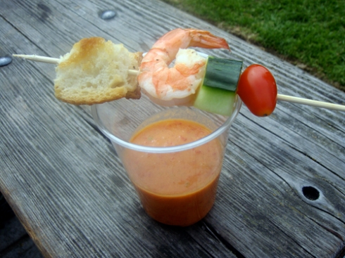 gazpacho with shrimp and croutons
