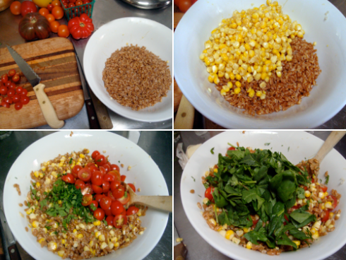 making-farro-salad