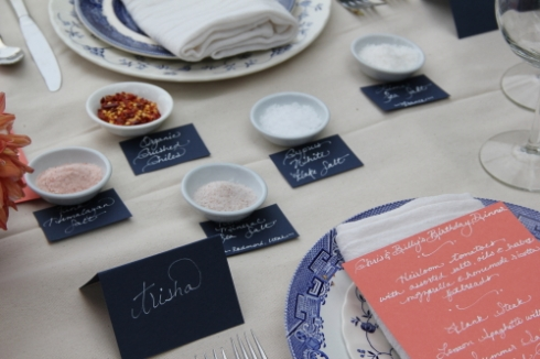 Menus, Place-cards and Salt Labels