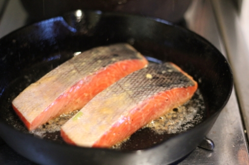 Salmon in cast iron