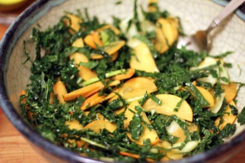 Kale & Persimmon Salad with Cumin-Lime Vinaigrette