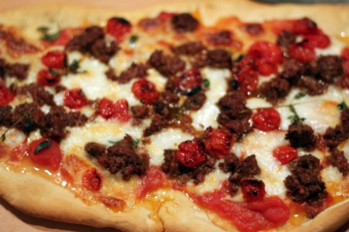 Pizza with Lamb Sausage and Roasted Tomatoes