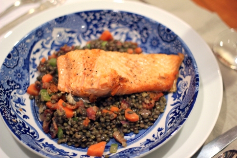 Pan-seard Steelhead Trout and Lentils with bacon