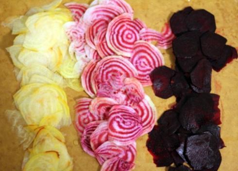 sliced rainbow of beets
