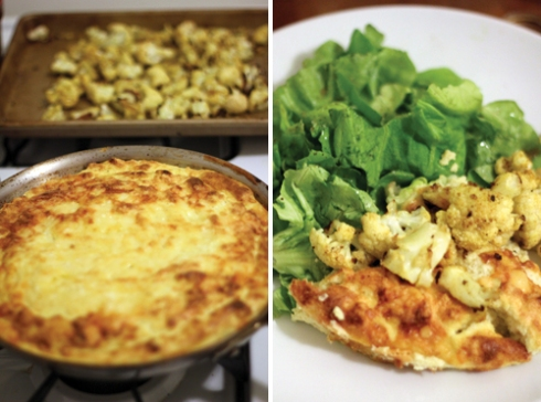 Cauliflower Spoon Eggs and Salad