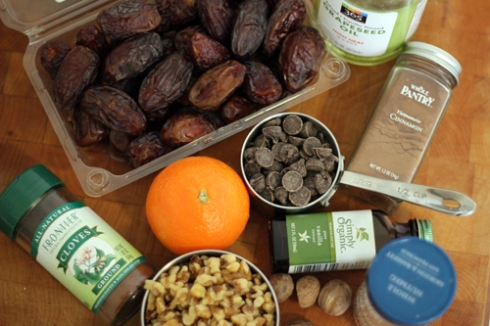 ingredients for date & walnut cookies
