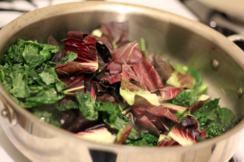 Cooking radicchio and kale