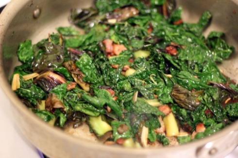Cooked radicchio and kale