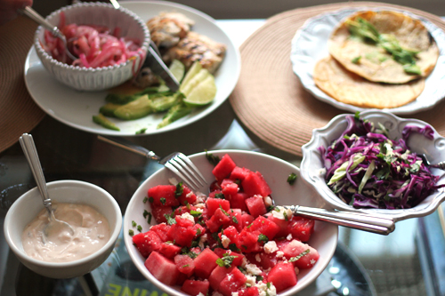 Fish tacos and watermelon salad