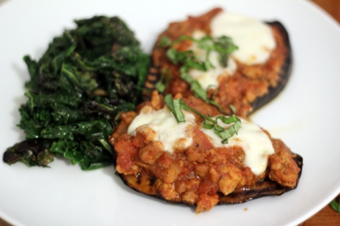 Grilled eggplant and turkey bolognese