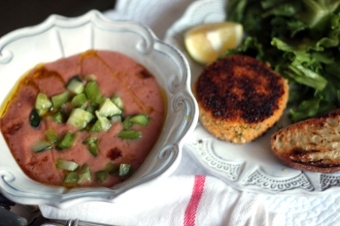 Gazpacho, Crab Cake and Salad