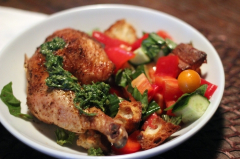 Chicken, Salsa Verde & Heirloom Panzanella