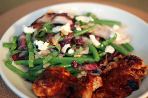 BBQ Chicken with Grilled Radicchio and Green Bean Salad