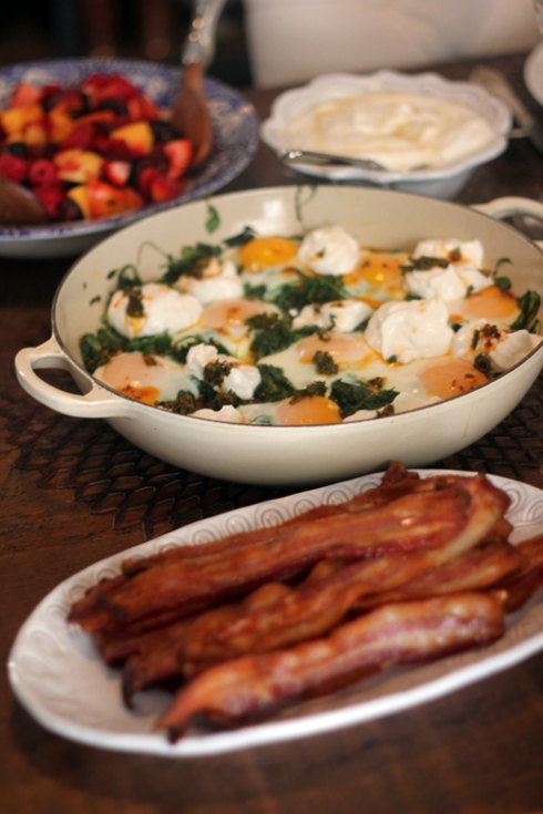 Brunch at home - baked eggs and bacon