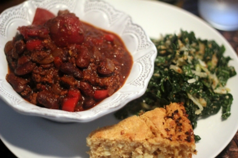 Turkey Chili, Firecracker Cornbread & Raw Kale Salad